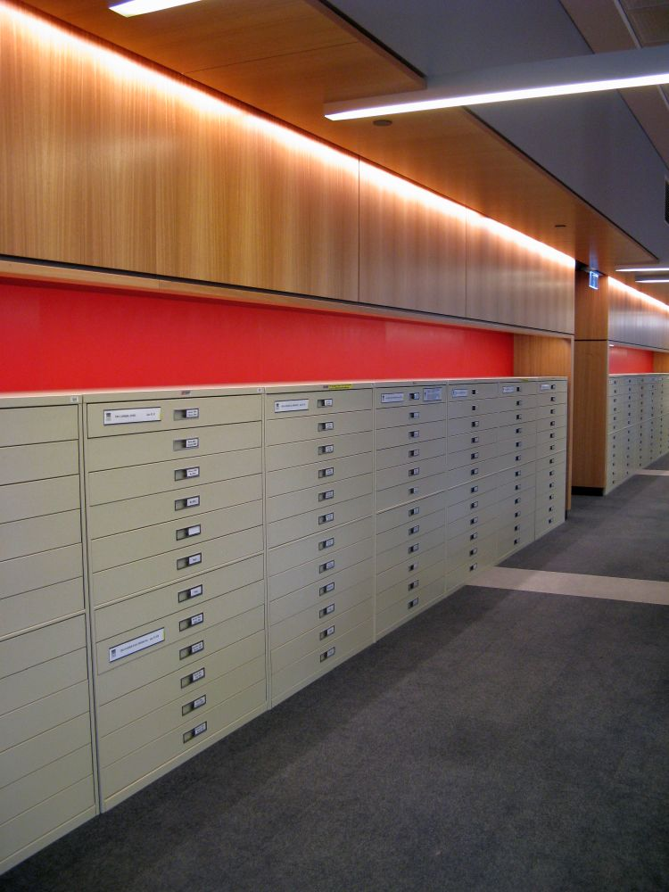 Cabinets containing microfilmed Australian newspapers