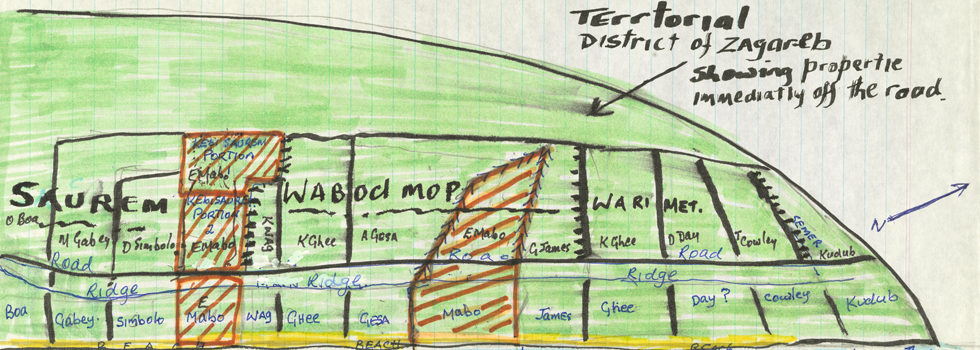 Hand-drawn map used in the Mabo case