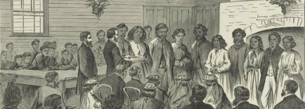 Wood engraving from approximately 1873 of an Indigenous Australian marriage ceremony