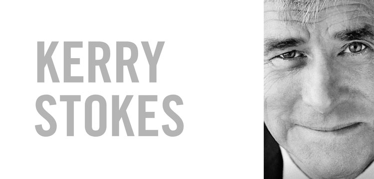 "Front cover of book ""Kerry Stokes. The Boy from Nowhere: A Great Australian Journey"". Black and white close up of the face of Kerry Stokes, wearing a suit and tie"