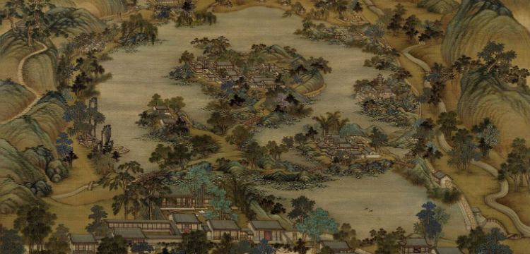 """Image of 18th Century artwork """"View of the Rehe Travelling Palace"""" by Leng Mei"""
