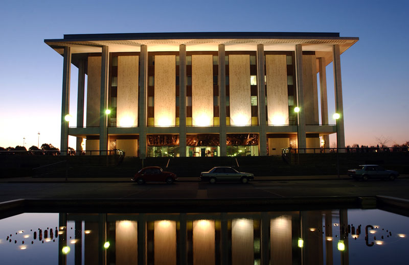 Library external at dusk