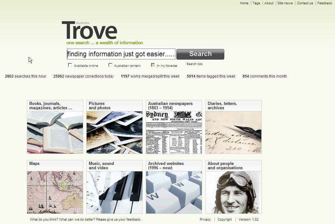 Screen shot of Trove's search interface