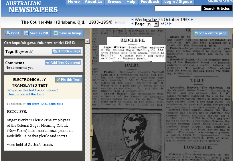 Image of an article in Australian Digitised Newspapers interface