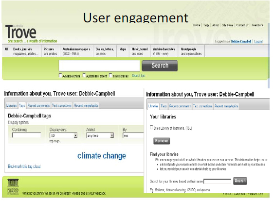 Trove user engagement interface