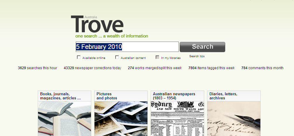 Trove search interface