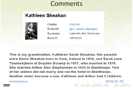 Comments on Kathleen Sheahan in Trove
