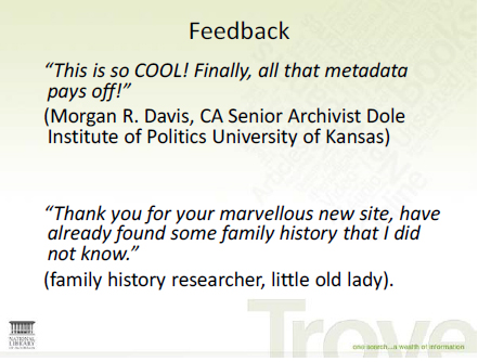 Screen shot of a slide from a presentation about Trove feedback