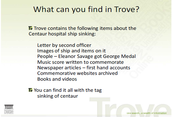 Screen shot of a slide from a presentation about what you can find in Trove