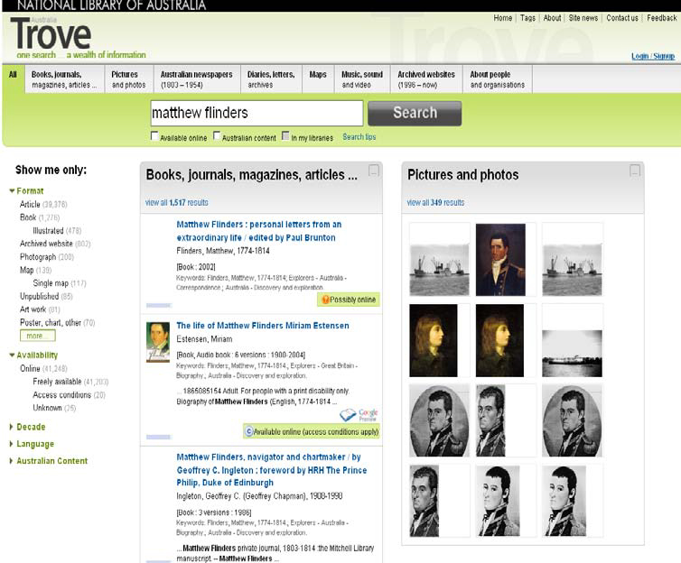 Image of the Trove books, journals, magazines, articles search results interface