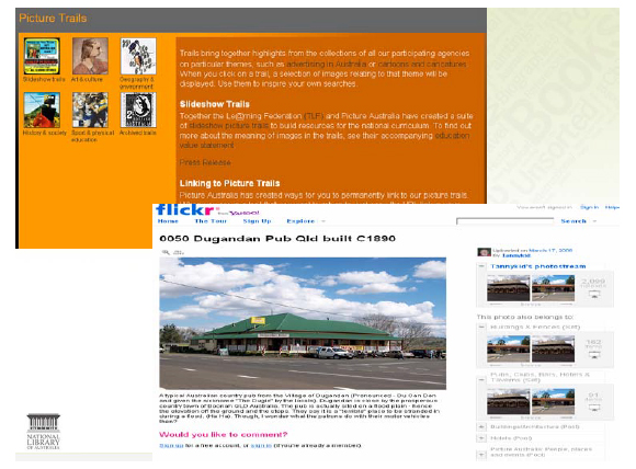 Screen shot of the Pictures Australia and Flicker websites