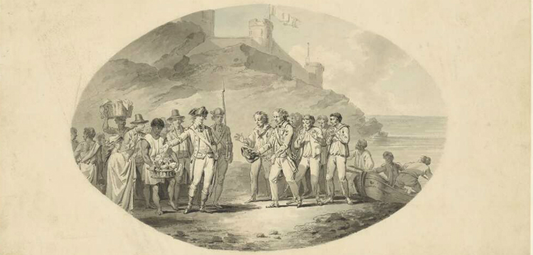 Sketch of William Bligh and crew with crowd of people