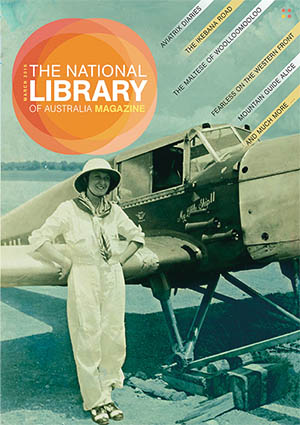 The National Library of Australia Magazine cover featuring pioneering aviatrix Lores Bonney