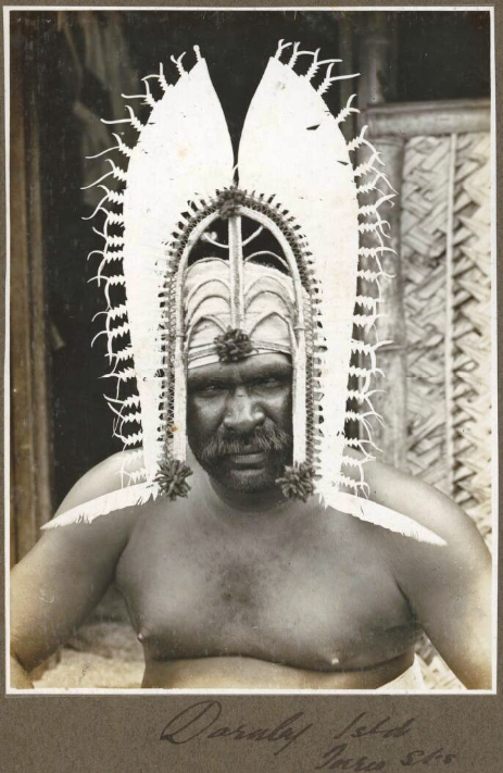 [Man wearing head dress], Darnley Island [Erub], Torres Straits