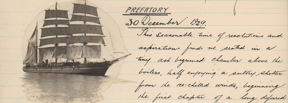 Handwritten diary entry with a photo of a ship