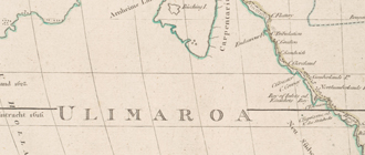 Close up of map showing northern Australia