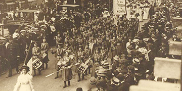 Photograph of suffrage demonstrations from the Bessie Rischbieth Collection