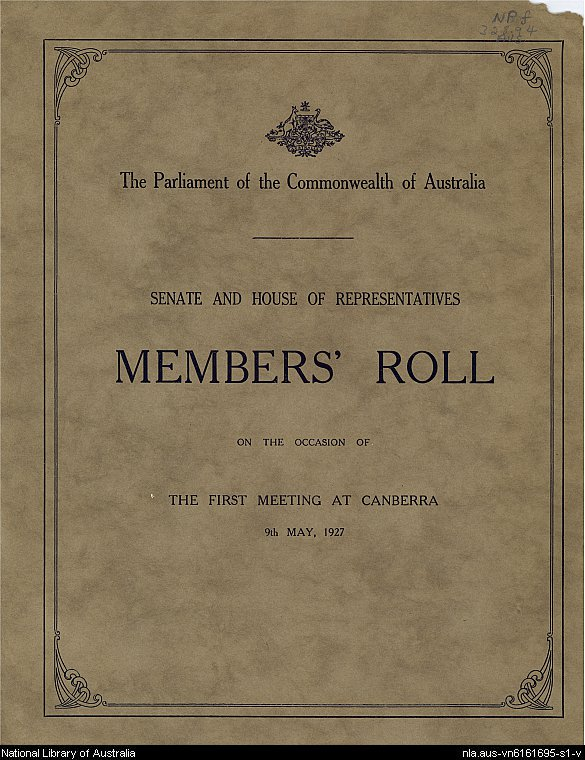 Senate and House of Representatives members' roll