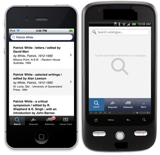 Mobile showing the catalogue app