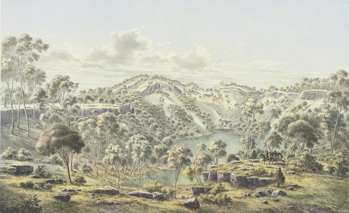 Colonial painting of Mount Eccles with crater lake in foreground