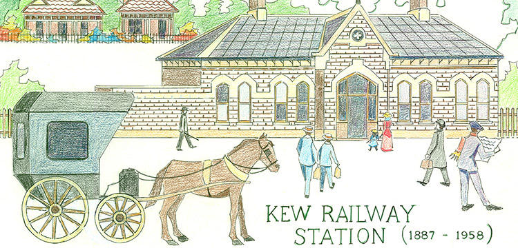 A pen and pencil embroidery template of Kew Railway Station (1887-1958)