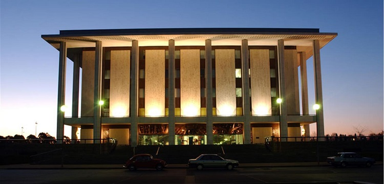 Exterior of National Library at dusk
