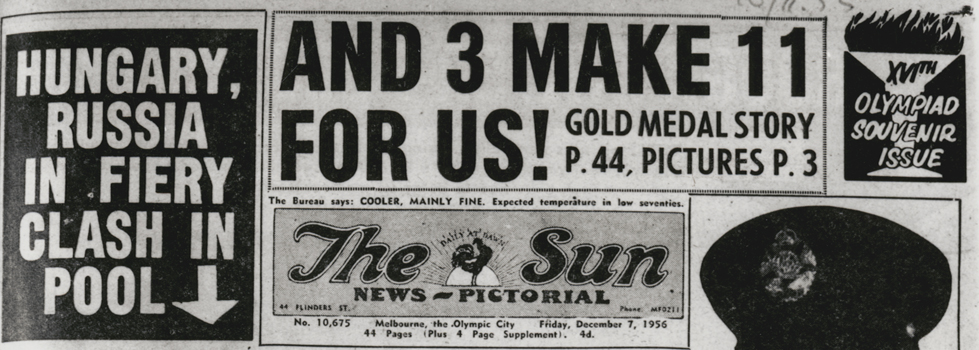 Headlines for December 7, 1956 issue of The Sun news-pictorial