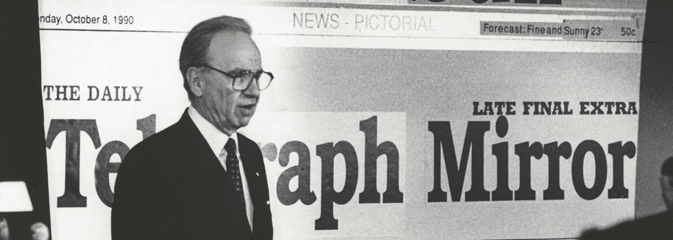 Black and white photo of Rupert Murdoch