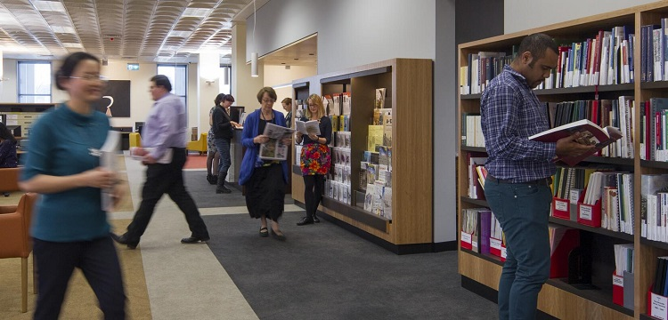 people browsing reference shelves