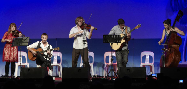 Emma Nixon, Chris Stone and friends in the Folk Fellow concert in the Budawang at the National Folk Festival, Canberra, April 2012