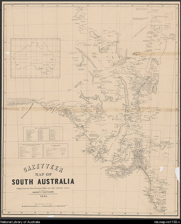 Image of Gazetteer map of South Australia from 1867