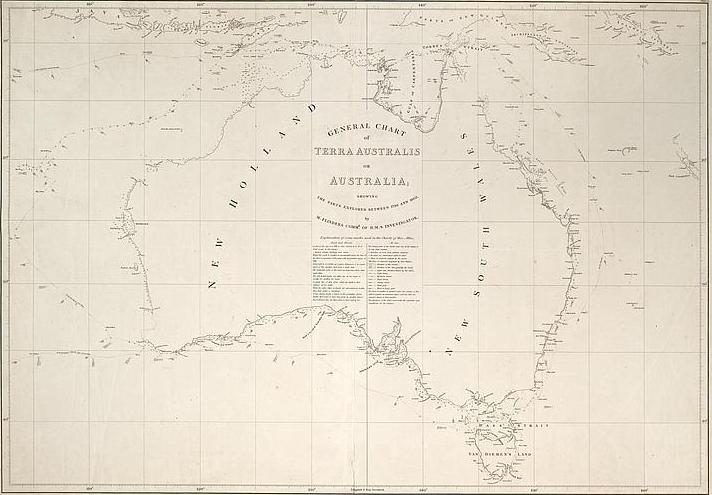 Matthew Flinders (1774–1814) General Chart of Terra Australis or Australia, 1814–1822 National Library of Australia, Tooley Collection, Map T 570