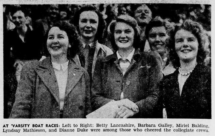 'At Varsity Boat Races: Left to Right: Betty Lancashire, Barbara Galley, Miriel Balding, Lyndsay Mathieson, and Dianne Duke', The Argus, 2 May 1946, nla.news-article22238895