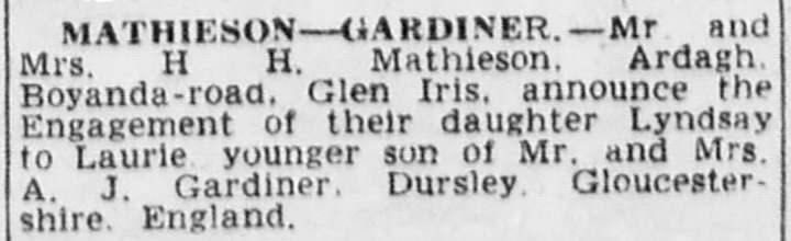 'Engagements: Mathieson – Gardiner', The Age, 3 August 1949, nla.news-article189456292