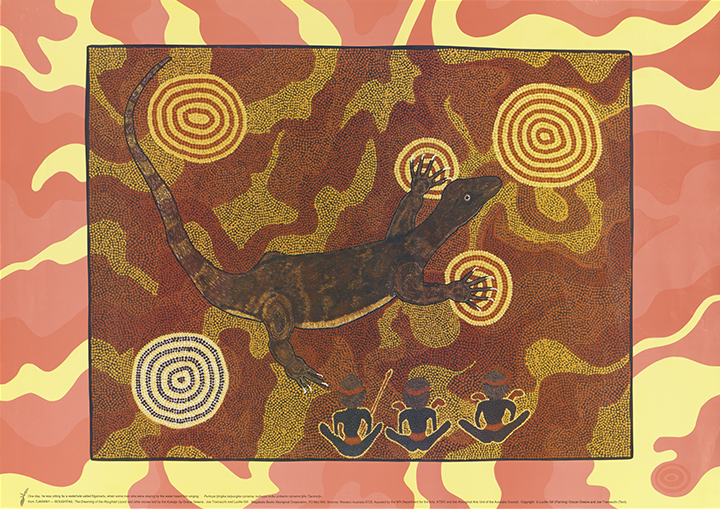 Lucille Gill, One Day, He was Sitting by a Waterhole…, reproduction of painting from Tjarany - Roughtail by Gracie Green, Joe Tramacchi and Lucille Gill (Broome: Magabala Books, 1992), nla.cat-vn6152039, courtesy Magabala Books