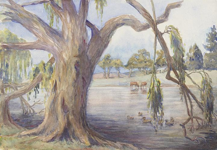 Eirene Mort, Gungahleen (Gungahlin), The Dam, Summer, 1924, nla.cat-vn20830