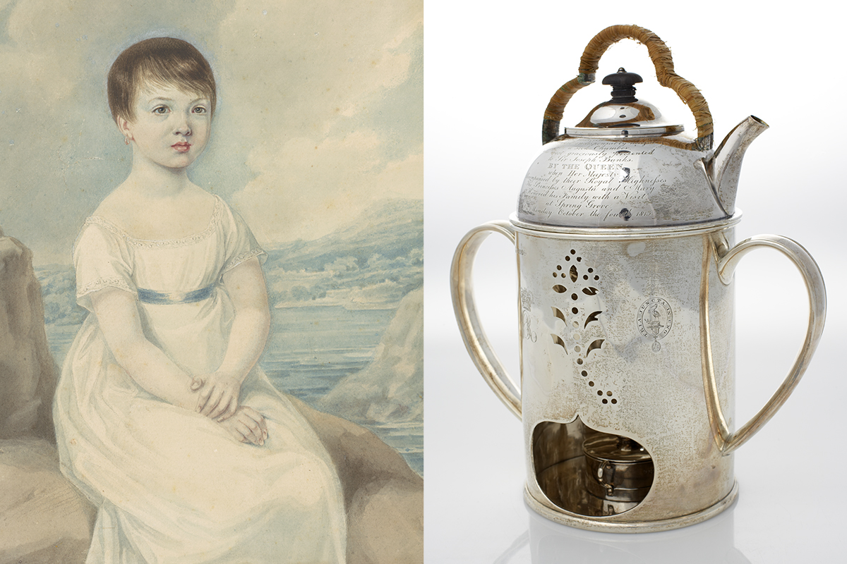 Portrait of Betsy Broughton and Sir Joseph Bans' teakettle and warmer