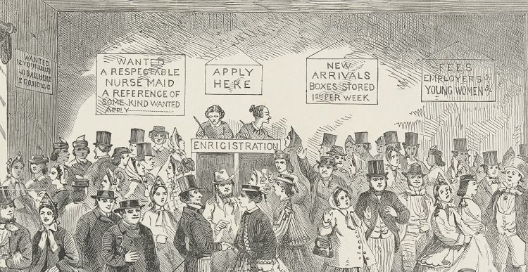 Line etching of a labour office around 1860, showing a room full of people