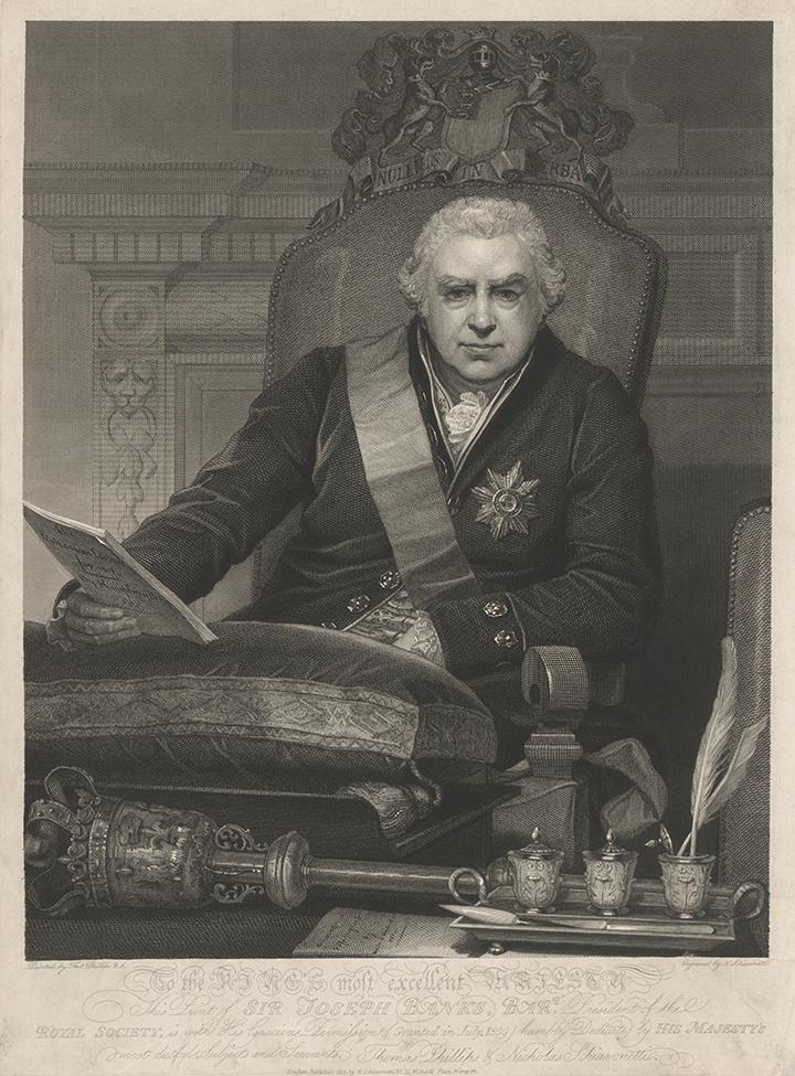 Thomas Phillips (artist) and Nicholas Schiavonetti (engraver), Portrait of Sir Joseph Banks, Bart., President of the Royal Society, 1812, nla.cat-vn2184006
