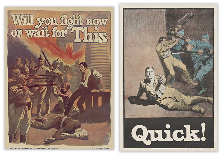 Norman Lindsay, Will You Fight Now or Wait for This, 1918, nla.cat-vn2019934, courtesy Norman Lindsay Estate; Norman Lindsay, Quick!, 1918, nla.cat-vn492418, courtesy Norman Lindsay Estate