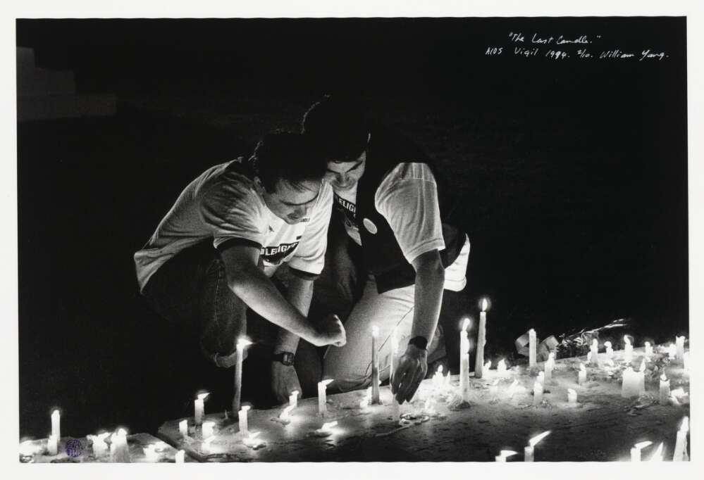 William Yang, The last candle, AIDS vigil [The Domain, Sydney], 1994, nla.cat-vn3097674.