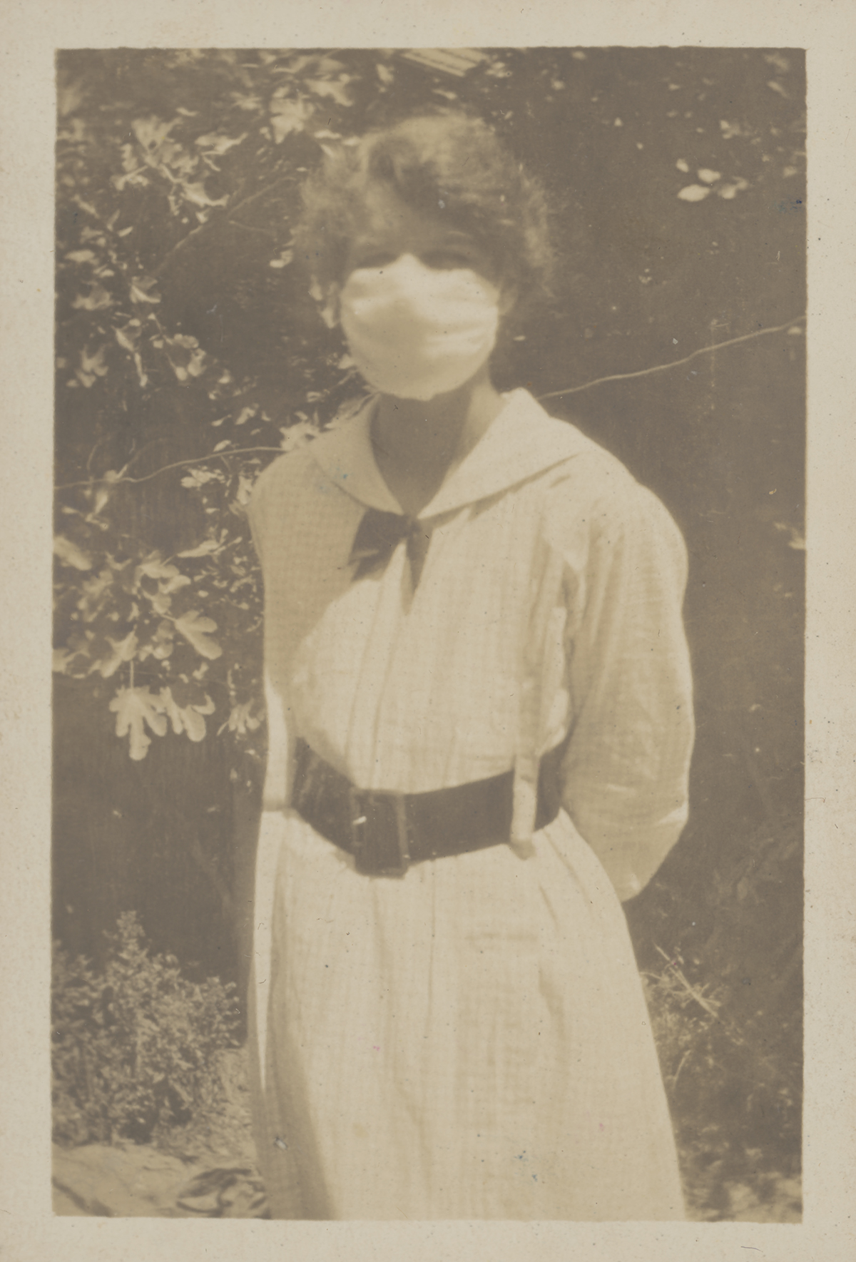 M.P.B.C. wearing a flu mask during the flu epidemic, February, 1919