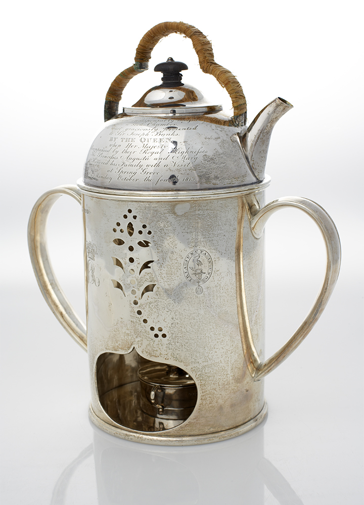 Rebecca Emes and Edward Barnard, Silver Kettle and Spirit Lamp Given by Queen Charlotte to Sir Joseph Banks, 1813, nla.cat-vn2661854
