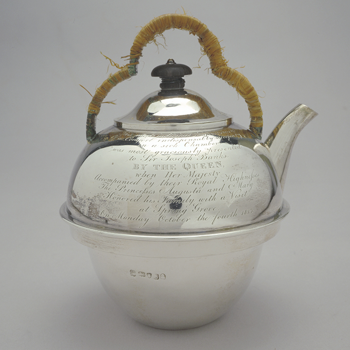 Rebecca Emes and Edward Barnard, Silver Kettle Showing Engraved Text, 1813, nla.cat-vn2661854