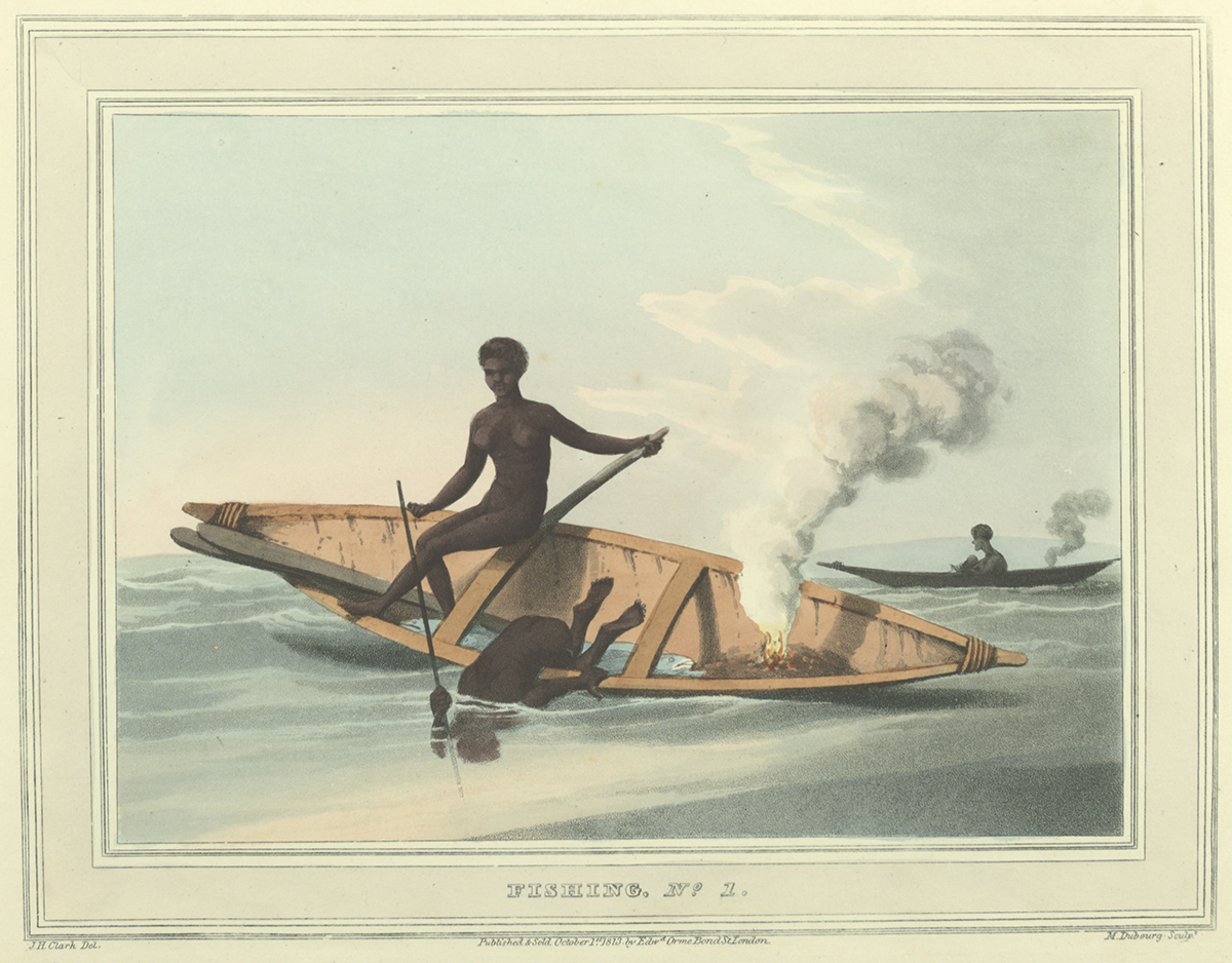 Fishing No. 1, Plate in Field sports &c. &c. of the Native Inhabitants of New South Wales by John Heaviside Clark