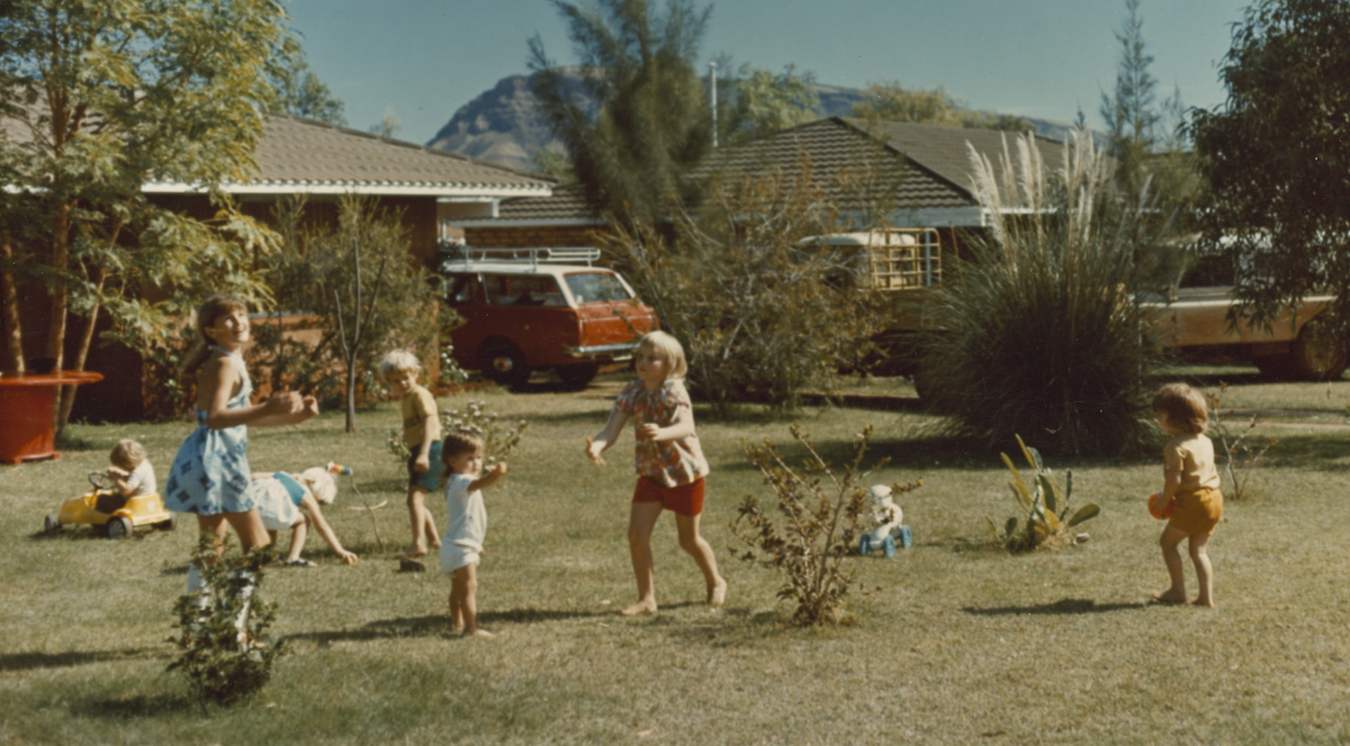 A group of children playing in a yard
