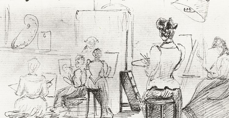 Pencil drawing of a governess supervising five student painters