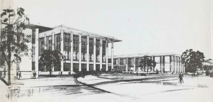 Sketch of the National Library of Australia, 1962