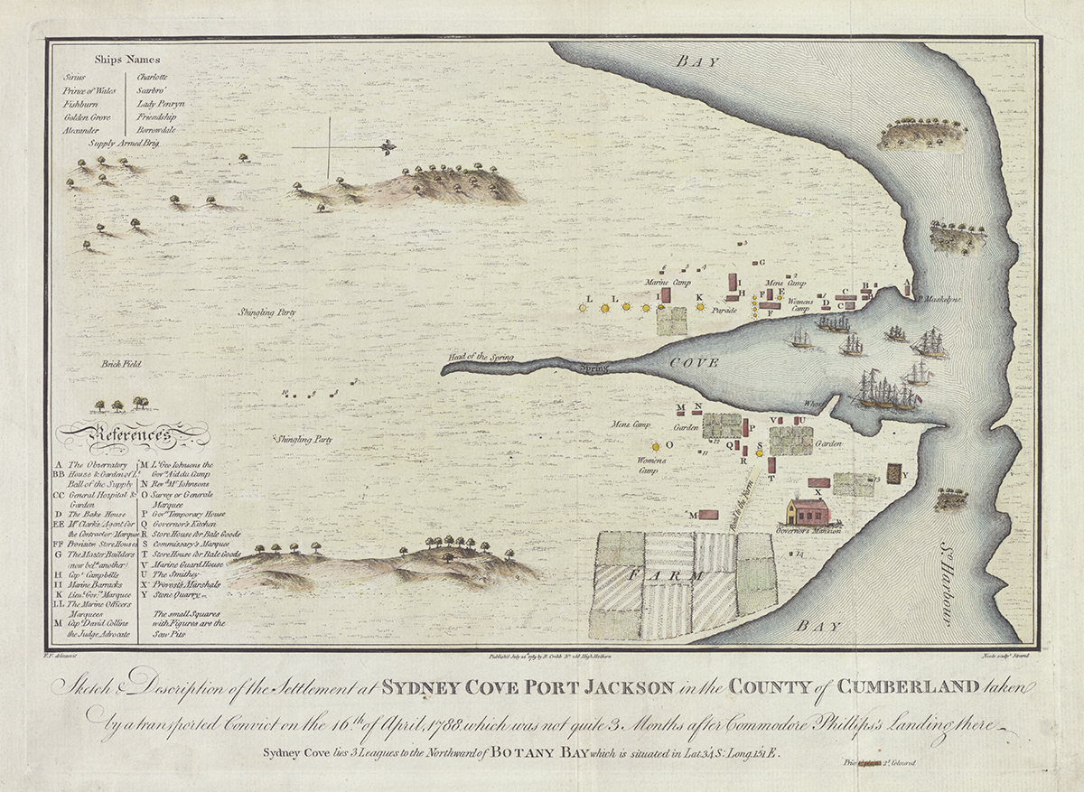 Sketch & description of the settlement at Sydney Cove Port Jackson in the County of Cumberland taken by a transported convict on the 16th of April, 1788