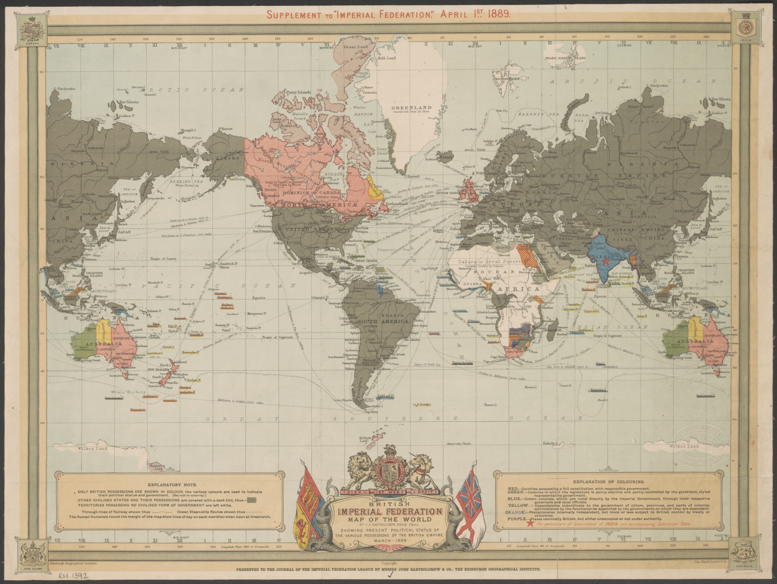 The commonwealth games national library of australia jg bartholomew british imperial federation map of the world showing present political status of the various possessions of the british empire gumiabroncs Choice Image